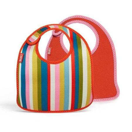 BUILT Mess Mate - 2 śliniaki dla dzieci (Baby Pink Stripe)