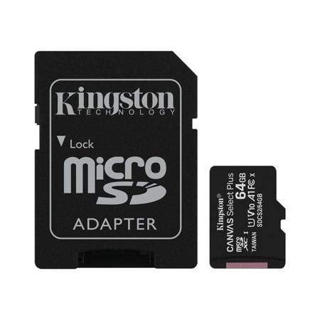Kingston Canvas Select Plus microSDXC - Karta pamięci 64 GB z adapterem