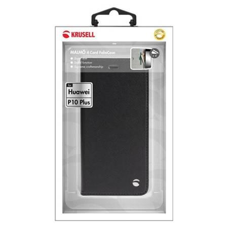 Krusell Malmo 4 Card Foliocase - Etui Huawei P10 Plus z kieszeniami na karty + stand up (czarny)