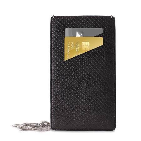 PURO GLAM Chain - Etui uniwersalne do smartfonów z 2 kieszeniami na karty w/sliver chain XL (czarny)