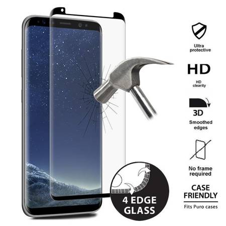 PURO Premium Full Edge Tempered Glass Case Friendly - Szkło ochronne hartowane na ekran Samsung Galaxy S8 (czarna ramka)