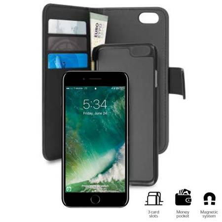 PURO Wallet Detachable - Etui 2w1 iPhone SE 2020 / 8 / 7 / 6s (czarny)