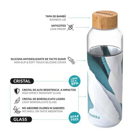 Quokka Flow -  Butelka na wodę ze szkła 660 ml (Iceberg)