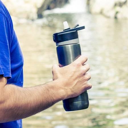 Quokka Spring - Butelka bidon termiczny ze stali nierdzewnej z systemem szybkiego otwierania 600 ml (Ebony)