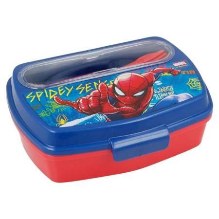 Spiderman - Lunchbox ze sztućcami (Łyżka, widelec)