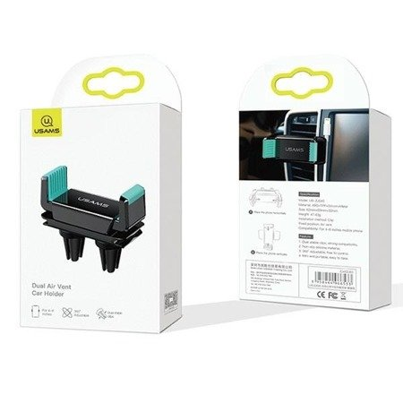 USAMS Uchwyt do kratki went. Air Vent Dual Clip czarno-zielony/black-green ZJ45ZJ03 (US-ZJ045)