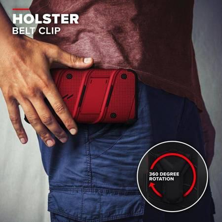 Zizo Bolt Cover - Pancerne etui iPhone 12 / iPhone 12 Pro ze szkłem 9H na ekran + podstawka & uchwyt do paska (czerwony/czarny)