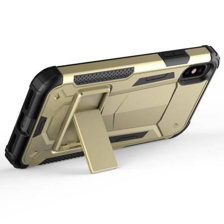 Zizo Hybrid Transformer Cover - Pancerne etui iPhone X z podstawką (Gold/Black)