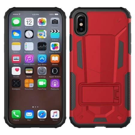 Zizo Hybrid Transformer Cover - Pancerne etui iPhone X z podstawką (Red/Black)