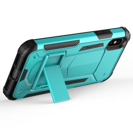Zizo Hybrid Transformer Cover - Pancerne etui iPhone X z podstawką (Teal/Black)