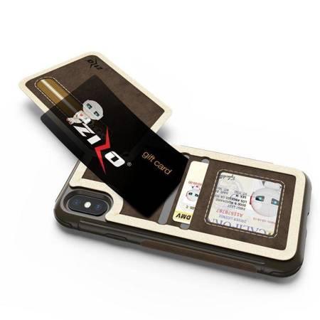 Zizo Nebula Wallet Case - Skórzane etui iPhone X z kieszeniami na karty + saszetka na zamek + szkło 9H na ekran (Dark Brown/Brown)