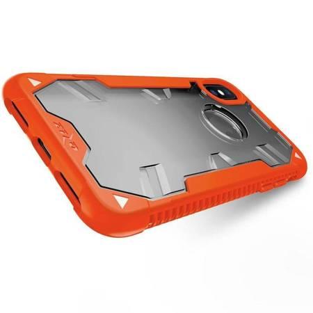 Zizo Proton Case - Pancerne etui iPhone X ze szkłem 9H na ekran (Orange/Trans Clear)